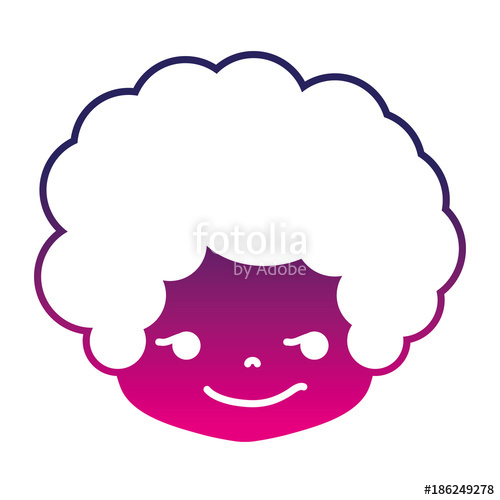 500x500 Silhouette Boy Head With Curly Hair And Rogue Face Stock Image