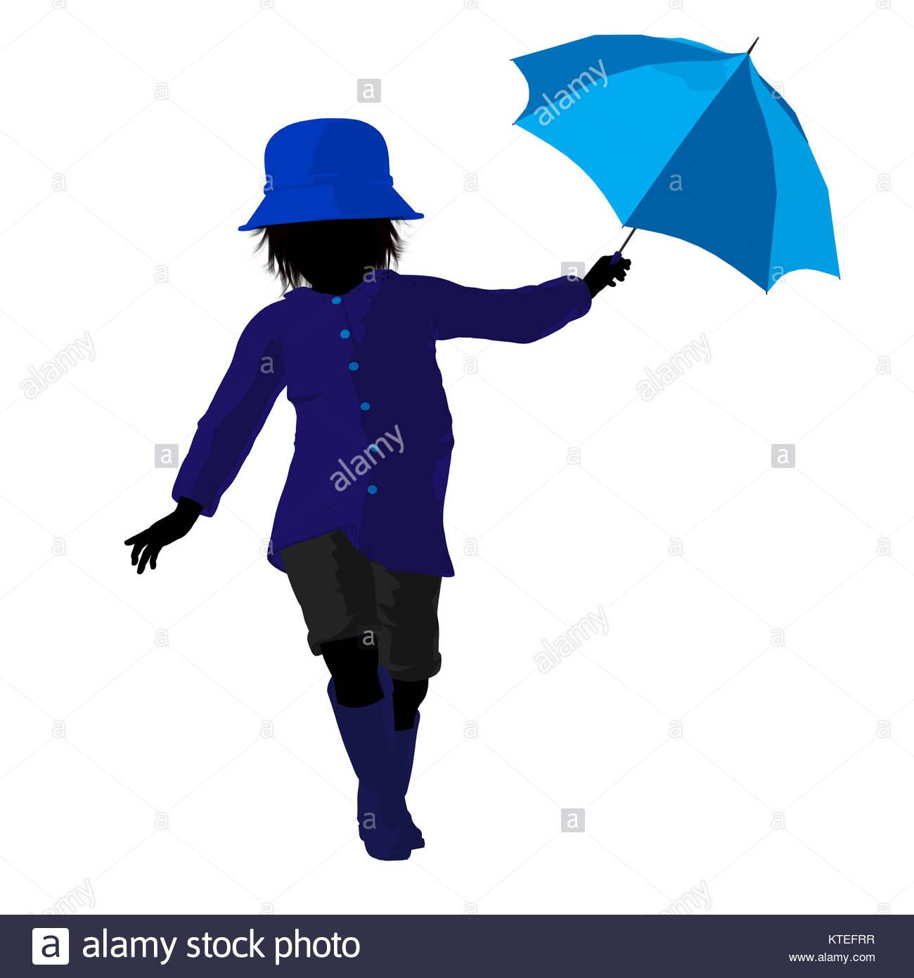 1300x1390 Rain Boy Illustration Silhouette On A White Background Stock Photo