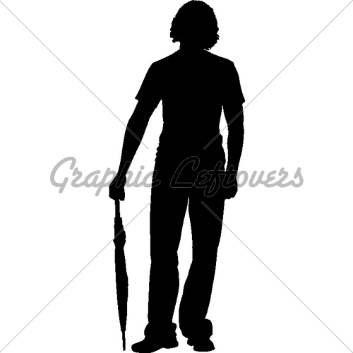 500x500 Silhouette Boy With Umbrella Gl Stock Images