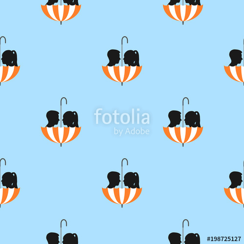 500x500 Silhouette Of Girl And Boy In Umbrella, Seamless Pattern Stock