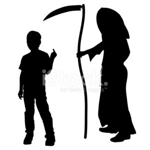 300x300 Vector Silhouette Of A Boy With The Grim Stock Vectors