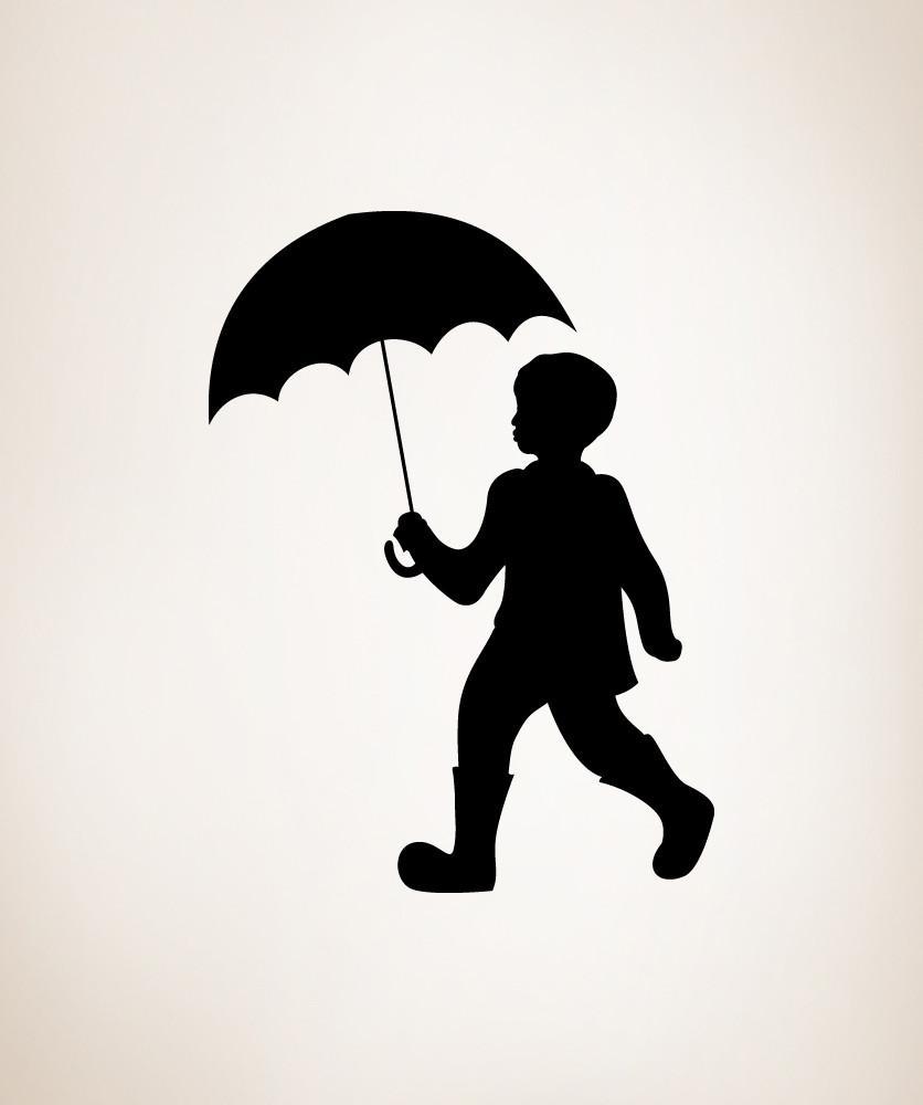 836x1000 Vinyl Wall Decal Sticker Boy With Umbrella