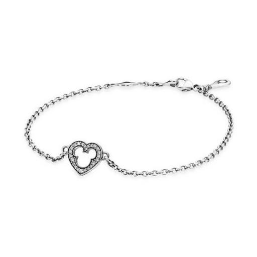 512x512 Pandora Shining Disney Mickey Silhouette Chain Bracelet Pcb1397