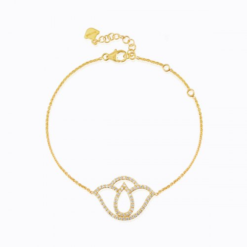 500x500 Thamarai Lotus Silhouette Fine Chain Bracelet In 18k Yellow Gold