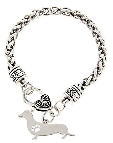 395x500 Best Dog Mom Ever Dog Paw Silhouette Gift Charm Bracelet Silver