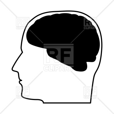 400x400 Head With The Brain Black Color Icon Royalty Free Vector Clip Art
