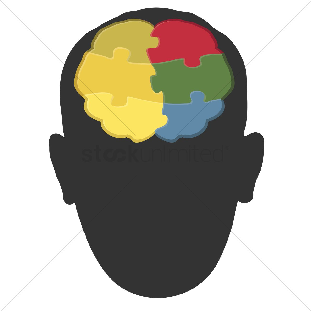 1300x1300 Human Head Silhouette With Brain Art Vector Image