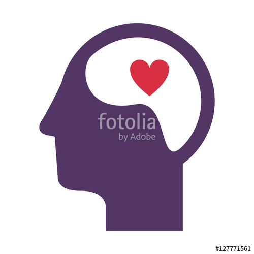 500x500 Purple Silhouette Head And Human Brain With Heart Vector