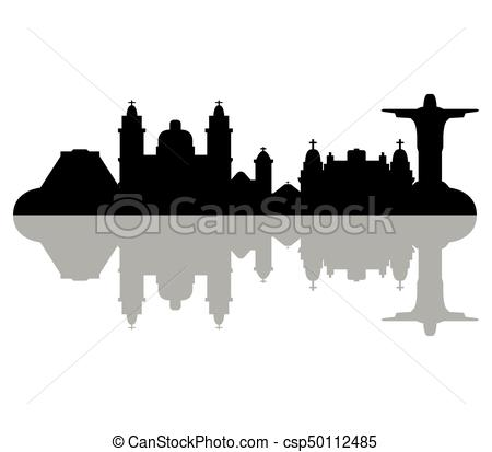450x413 Rio De Janeiro Brazil Skyline Detailed Vector Silhouette Stock