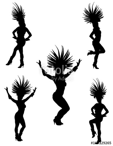 387x500 Brazil Carnival Dancers Vector Silhouette Illustration Isolated