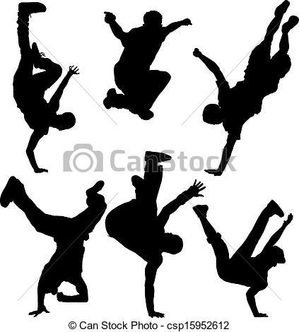 423x470 Break Dancers Silhouette On White Background Vector Clip Art