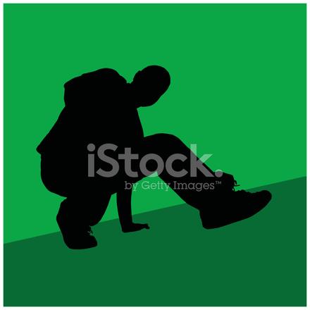 440x440 Silhouette Di Un Break Dancer 2 Stock Vector