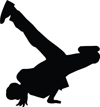 331x355 Freestyle Break Dance Silhouette Wall Decal By