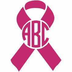 236x236 Breast Cancer Awareness Ribbon Monogram Decal