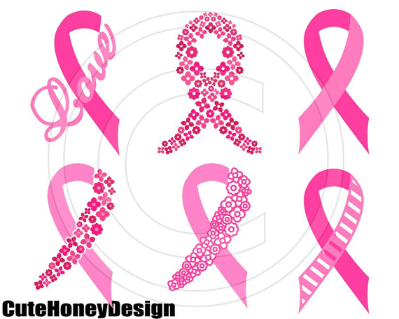 570x456 Breast Cancer Awareness Ribbon Digital Cutting File Silhouette