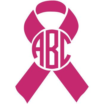 350x350 Breast Cancer Awareness Ribbon Monogram Decal