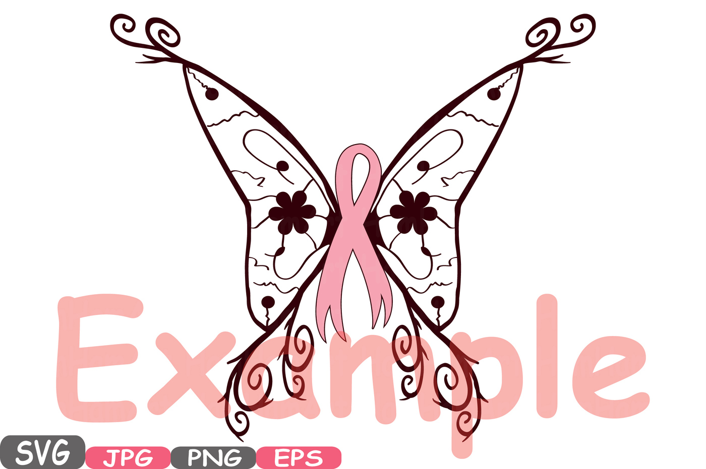 1400x931 Breast Cancer Butterfly Svg Cricut Silhouette Swirl Props Cutting