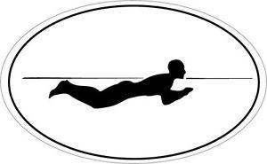 300x185 Breast Stroke Swimmer Silhouette In An Oval Shape Sticker