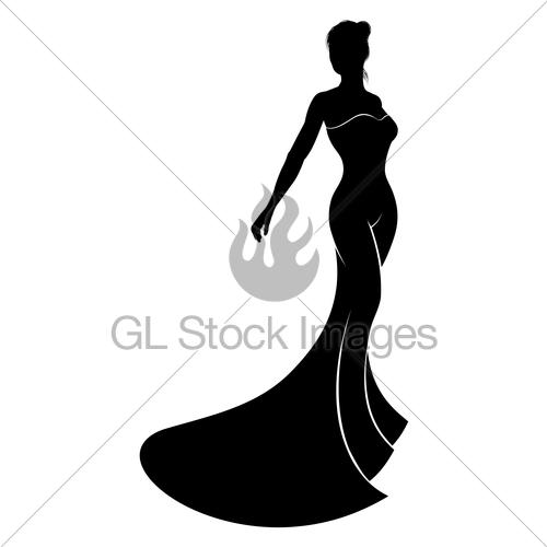 500x500 Silhouette Wedding Dress Bride Gl Stock Images