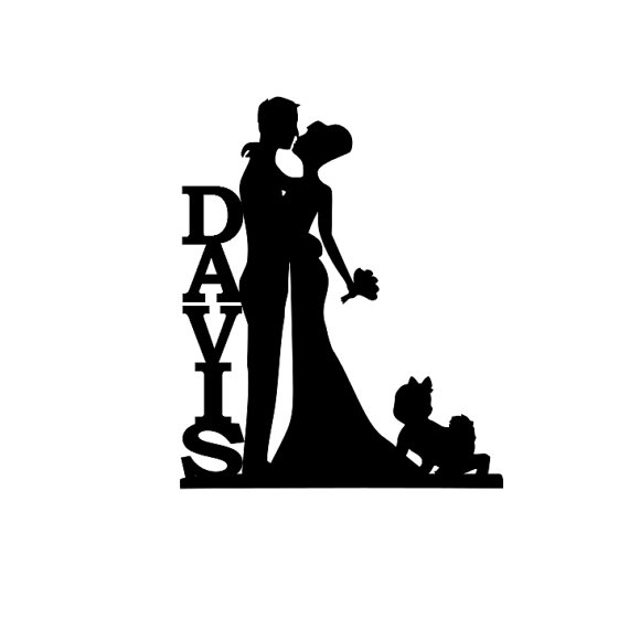 570x570 Personalized Bride And Groom Silhouette Wedding Cake Topper