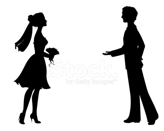550x440 Silhouettes Of Bride And Groom Stock Vector