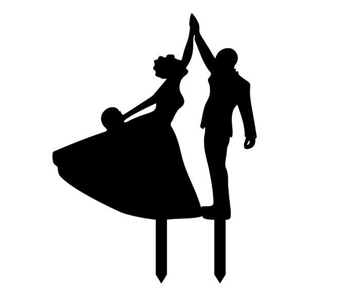 681x581 Black White Home Decorations Dance With You Acrylic Wedding Cake