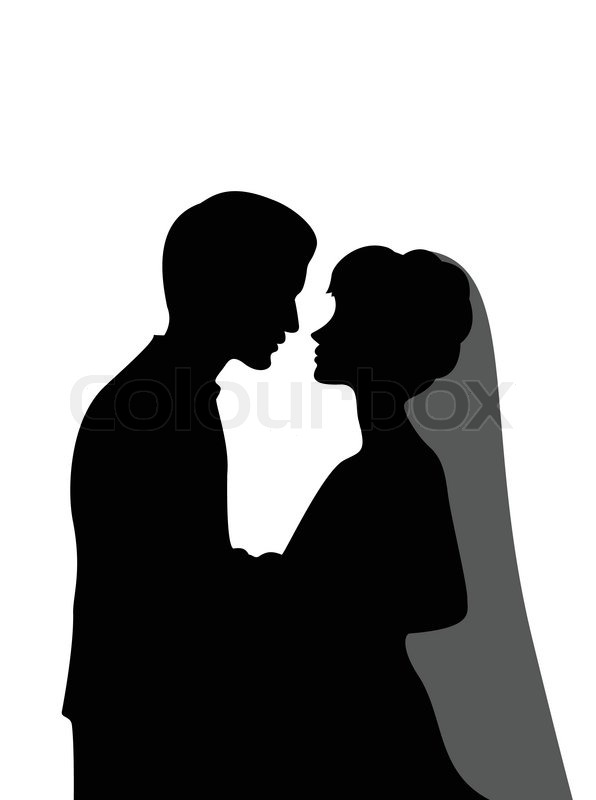 596x800 Bride And Groom Outline Clipart