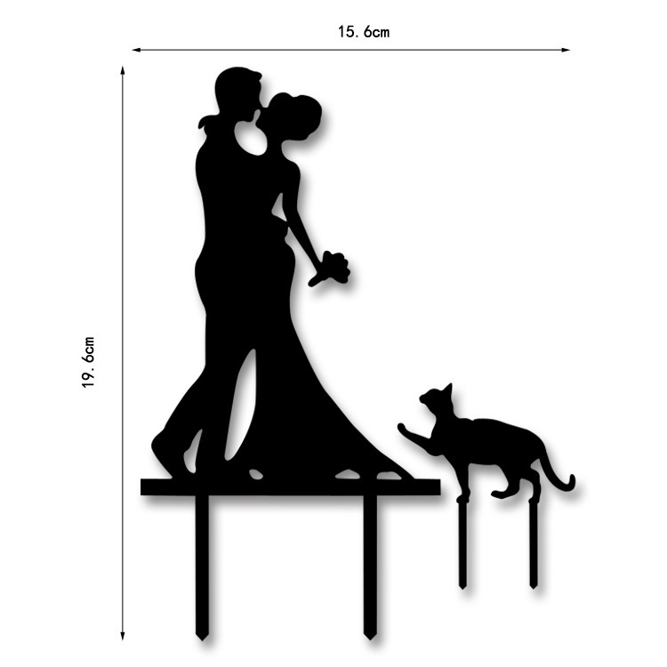 750x750 Acrylic Silhouette Bride And Groom Kiss With Cat Wedding Cake