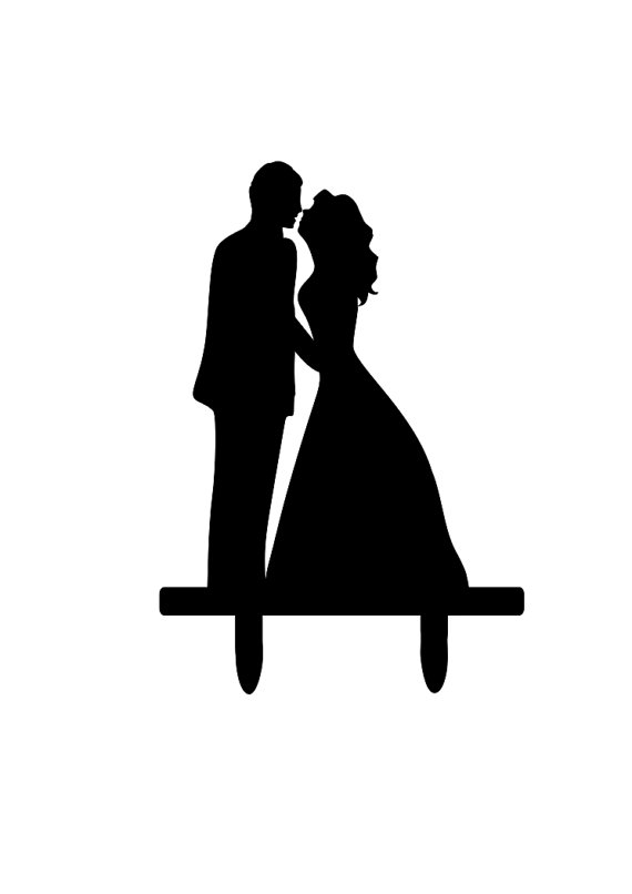 570x806 Bride And Groom Silhouette Cake Topper Bride And Groom Kissing