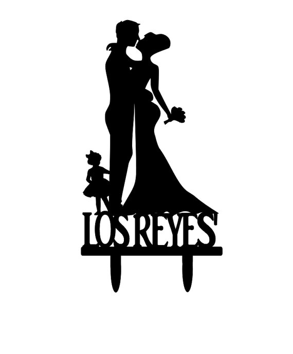 570x689 Customized Bride And Groom Silhouette Wedding Cake Topper