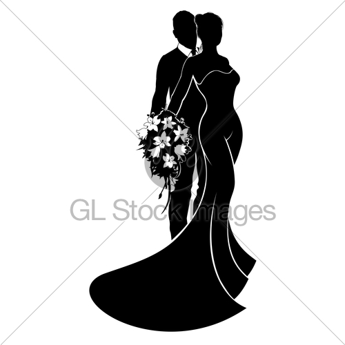 500x500 Wedding Bride And Groom Silhouette Gl Stock Images