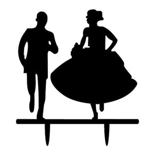 500x500 Bride And Groom Silhouette Mr. Amp Mrs. Acrylic Cake Topper Style 7
