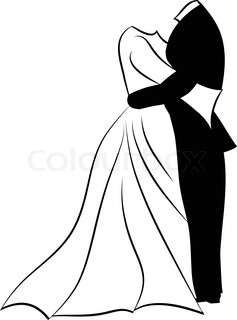 237x320 Silhouettes Of Bride And Groom. Black Against White Background