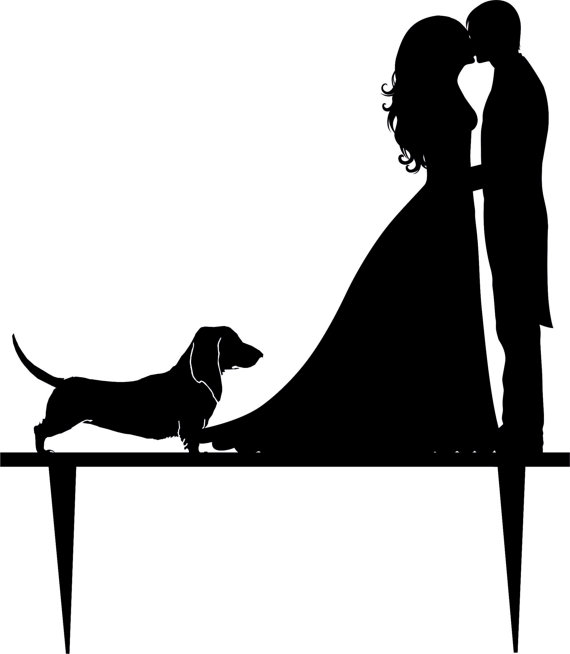 570x654 Wedding Cake Topper Silhouette Groom And Bride, Acrylic Cake