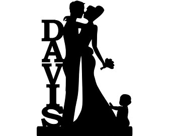 340x270 Bride And Groom Silhouette Wedding Cake Topper With A Daughter