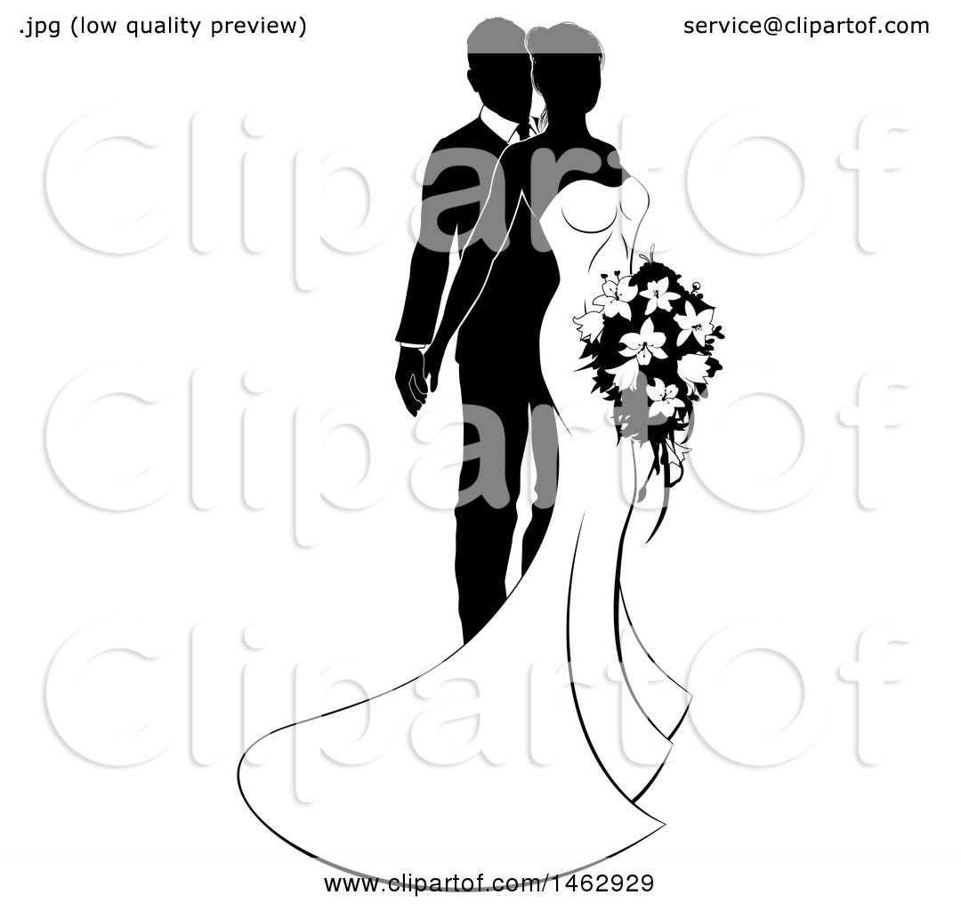 1080x1024 Clipart Of A Black White Silhouetted Posing Wedding Bride