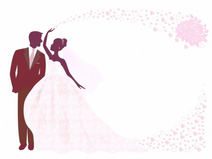 425x319 Bride And Groom Silhouette Wedding Stationery