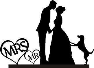 325x236 Custom Glitter Cardstock Wedding Cake Topper With A Dog Silhouette