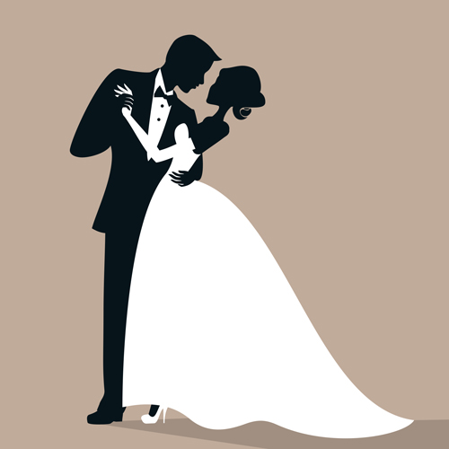 Bride And Groom Silhouette Vector