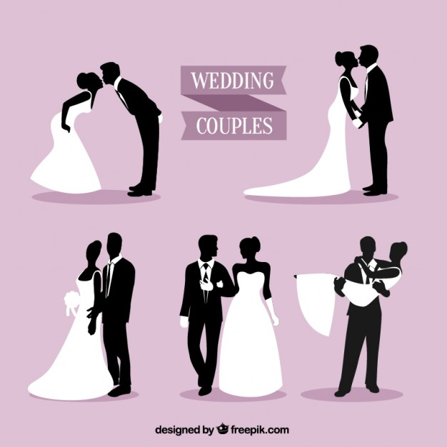 626x626 Wedding Couples Silhouettes Pack Vector Premium Download