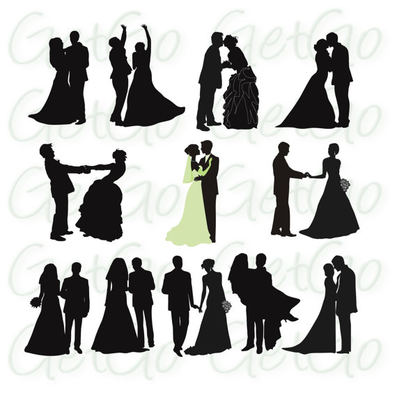 570x564 Wedding Silhouettes Printable Download Graphic Artwork Clip Art