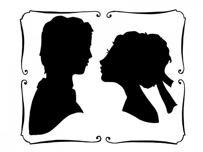 700x525 Bride And Groom Head In Frame Vector