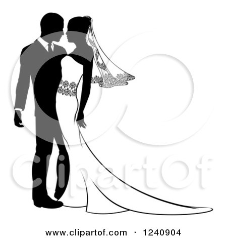 450x470 Clipart Of Blacknd White Silhouetted Wedding Couple