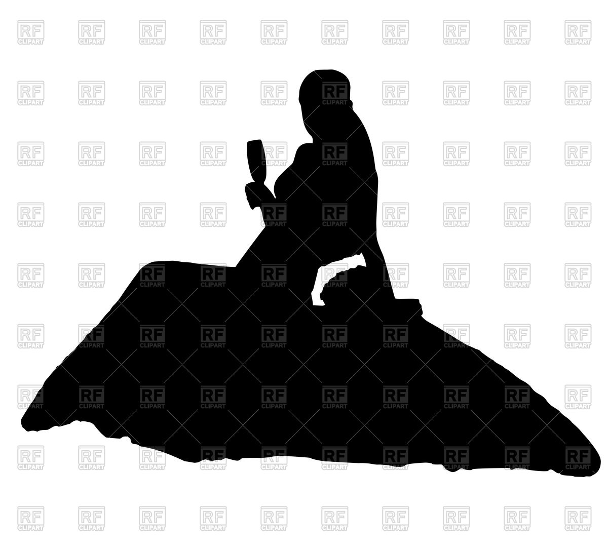 1200x1086 Silhouette Of Sitting Bride With Glass Royalty Free Vector Clip