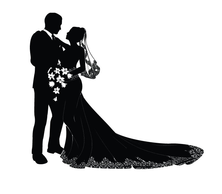 Wedding Clipart Black And White.Bride And Groom Silhouette Wedding Clipart At Getdrawings Com Free