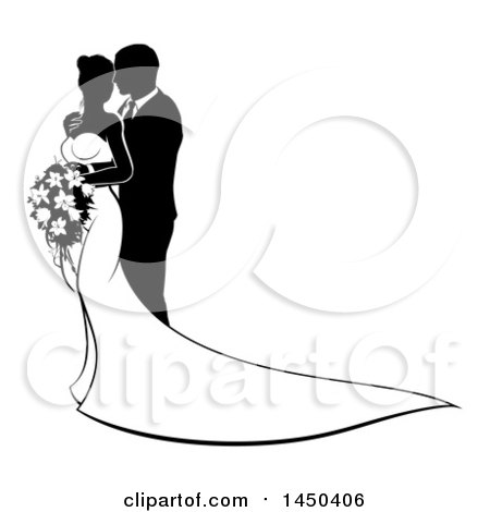 450x470 Clipart Of A Black And White Silhouetted Posing Bride And Groom