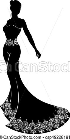 237x470 Wedding Silhouette Bride. A Bride In Silhouette In A Vector