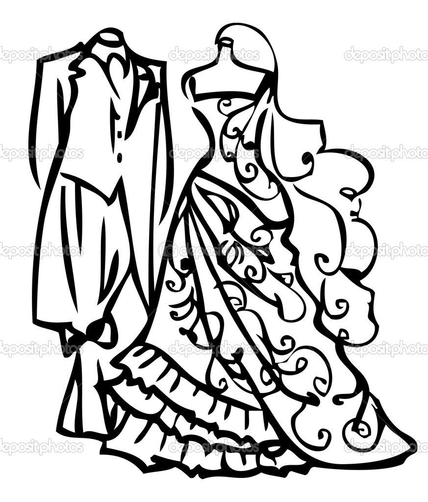 873x1023 Dress outline clip art Couple Wedding Dress White And Black