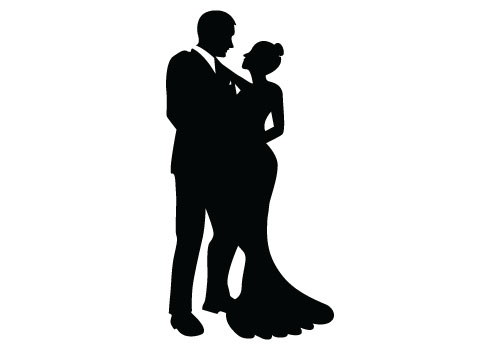 500x350 Bride And Groom Silhouette Clipart White Vector Collection
