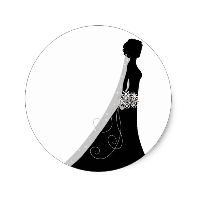 630x630 Veiled Bride Silhouette Clipart Wedding Stickers
